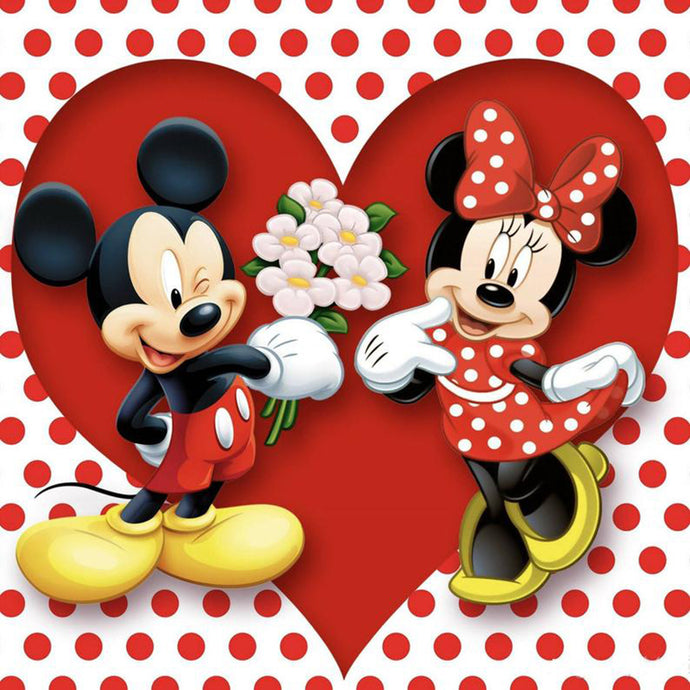 Cartoon Mouse Love Flower Diamond Painting