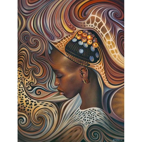 African Woman Embroidery 5D Art