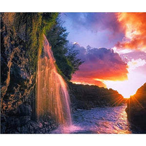 Waterfall in the sunset
