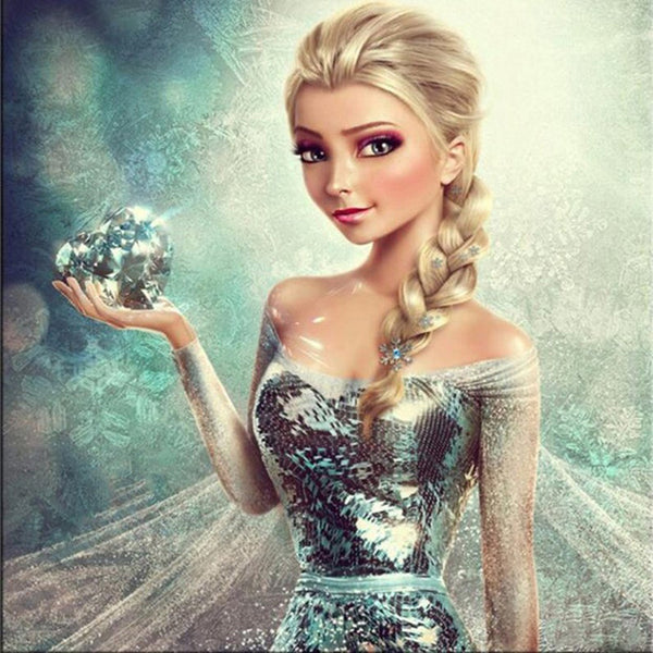 Cross-Stitch Cartoon Girl Elsa Diamond Painting