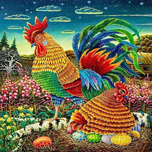 Rooster & Hens Chicken 5D Painting