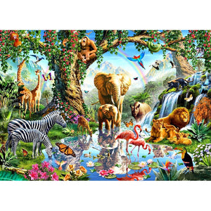 Zoo Animal Family 3D Embroidery Cross Stitch Kit