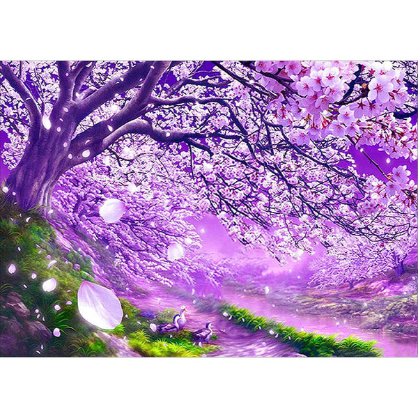 Purple Cherry Blossom Needlework