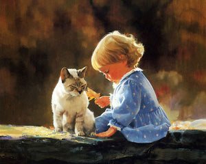 Little Girl with Cat Diamond Painting