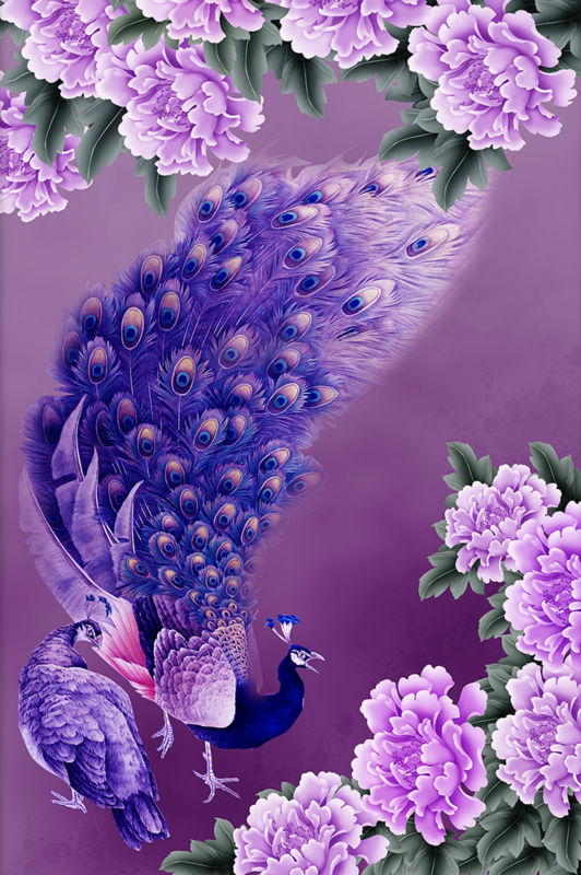 Purple Peacock Diamond Painting