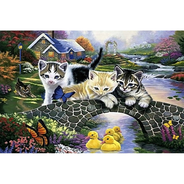 Cat and duckling Cross Stitch