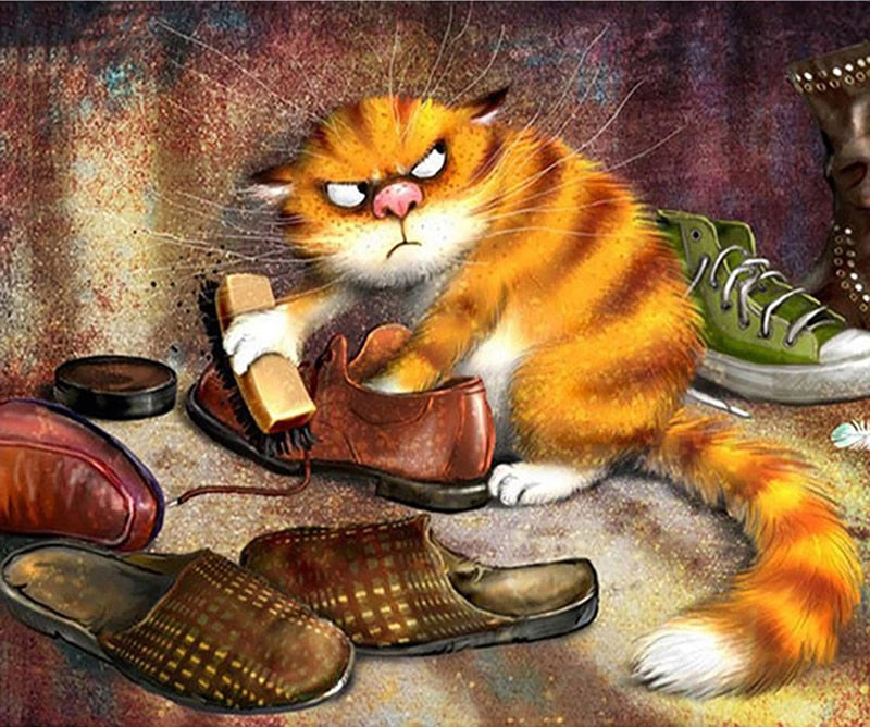 Angry Cat Brushes Shoe Painting