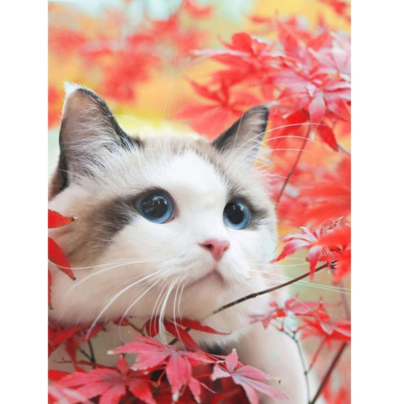 Cat Under The Maple 5D Painting