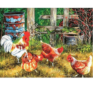 Four chickens Diamond Embroidered