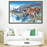 Wildlife Deer Family Full Diamond Cross Stitch