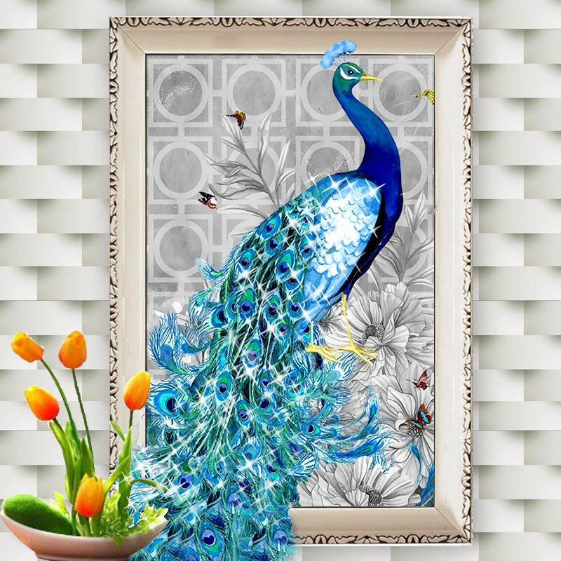 Blue Peacock 5D Painting