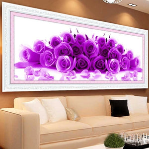 Blue Purple Rose Flowers Art