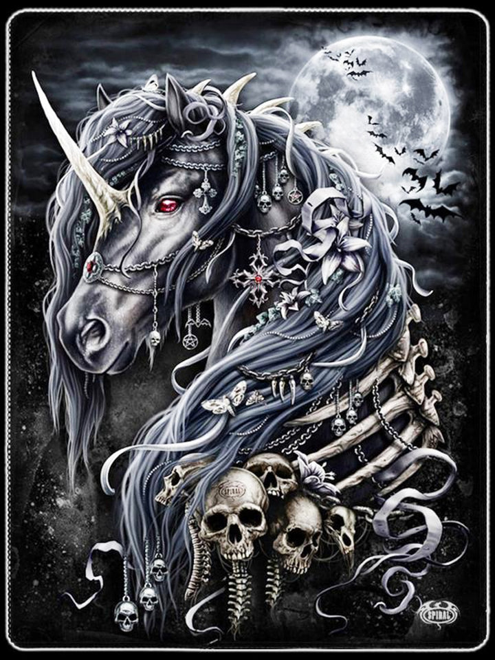 Black Horse Skull Diamond Painting