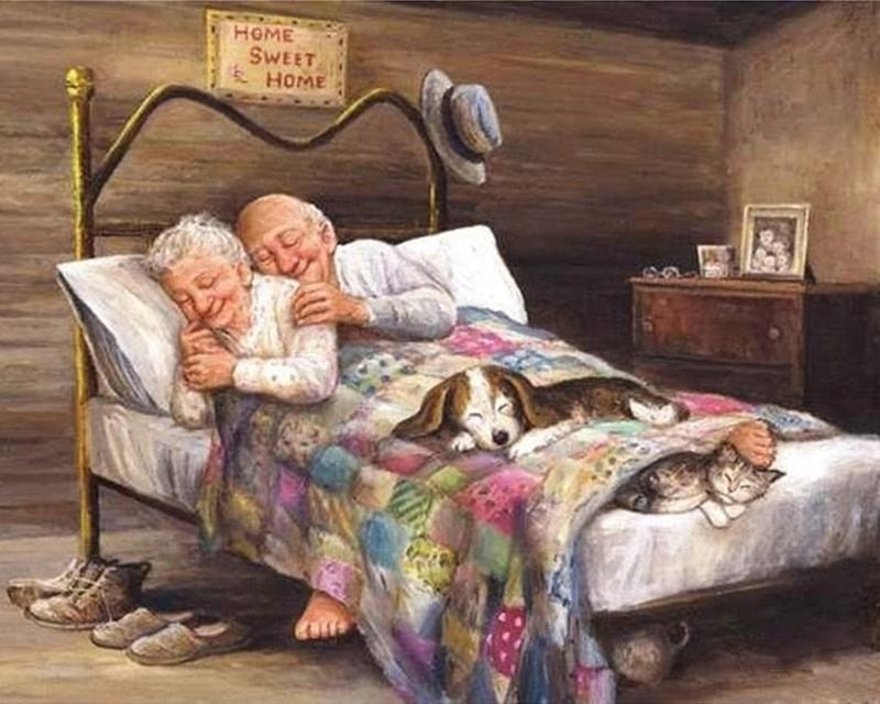 Old Couple in Love Diamond Painting