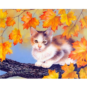Maple Leaves And Cat 5D Diamond Painting