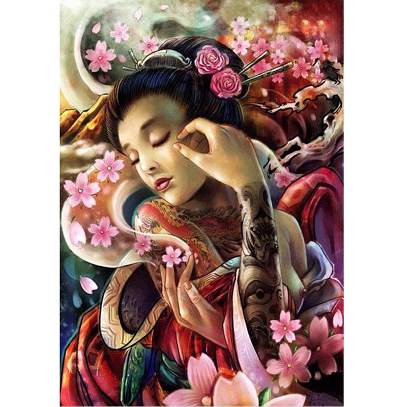 Flowers Woman Diamond Painting