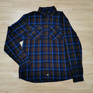 DICKIES - NASHVILLE LONG SLEEVE SHIRT - BROWN/BLUE