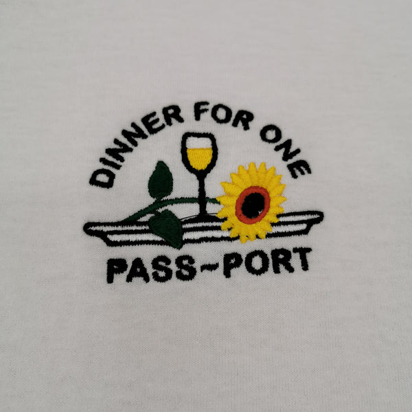 "PASS~PORT - ""DINNER FOR ONE"" TEE - WHITE"