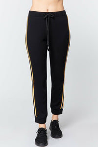 Side Stripe Tape French Terry Work Out Jogging Pants for Women