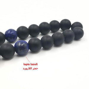 Man's Bracelets Natural Frosted black agates with lapis lazuli beads Tasbih gift islam misbaha Onxy prayer beads 33 66 99beads - Bashatasbih