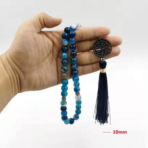 Natural Blue agates stone Tasbih prayer beads Misbaha 33 66 99beads New styles Cotton Tassel Professional Muslim Man's rosary - Bashatasbih