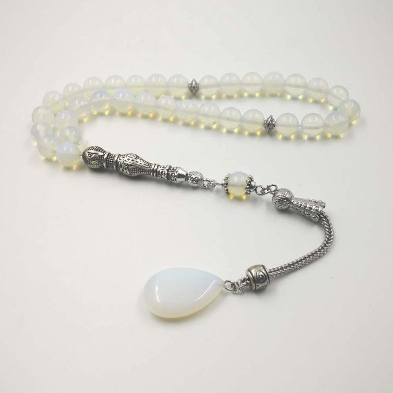 New arrival opal stone Tasbih 33 66 99 beads March 8 Gift Muslim misbaha Man's prayer beads Women's bracelet Islam Rosary - Bashatasbih