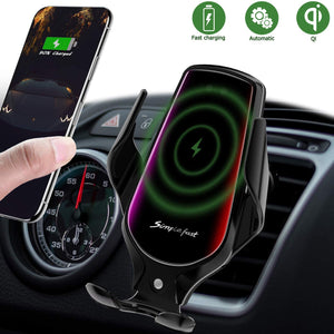Wireless Car Charger Mount,Auto-Clamping Air Vent Phone Holder,10W Qi Fast Car Charging