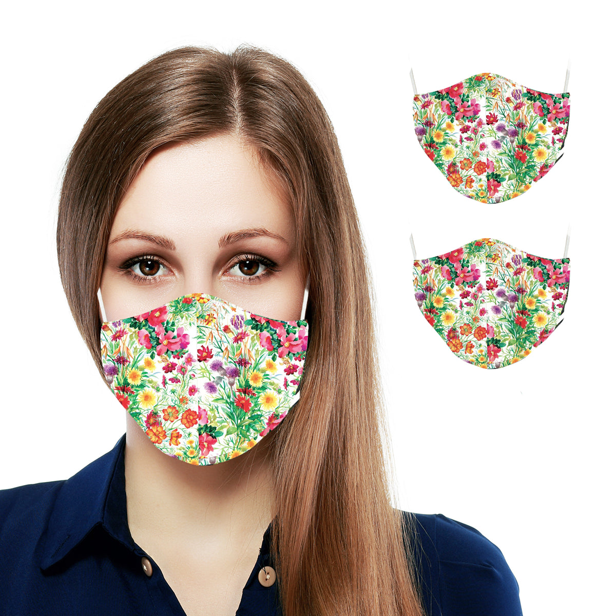 Spring Two Layer Reusable Face Masks for Adults (2-pack) - Primeware Inc.