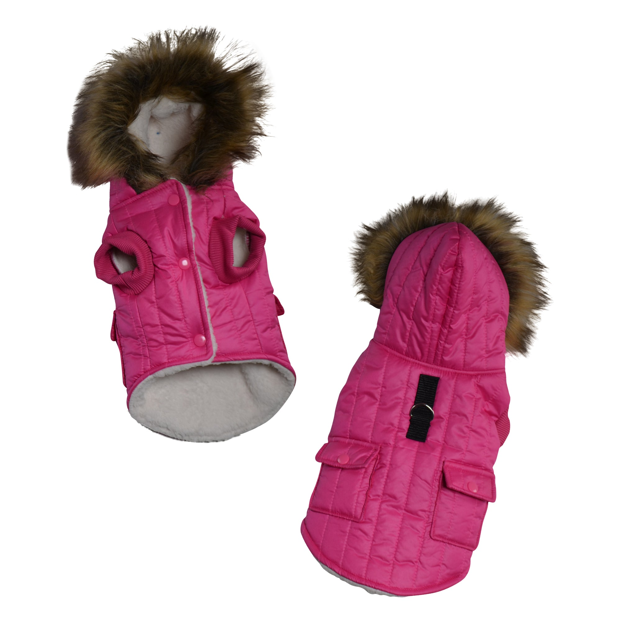 Parka Fleece Lined Dog Jacket with Leash Ring - primewareinc