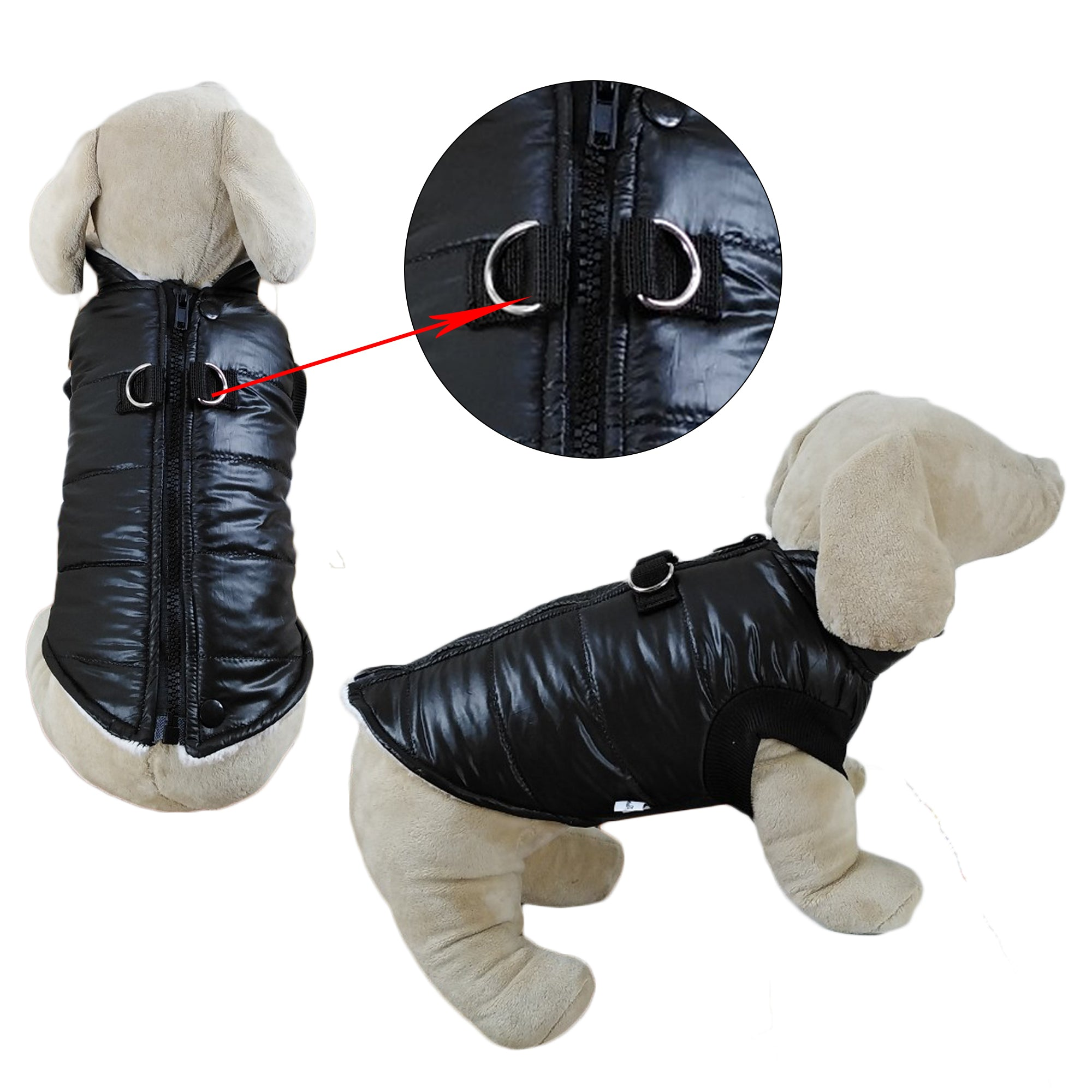 Padded Vest Jacket with Zipper Closure and Leash Ring - primewareinc