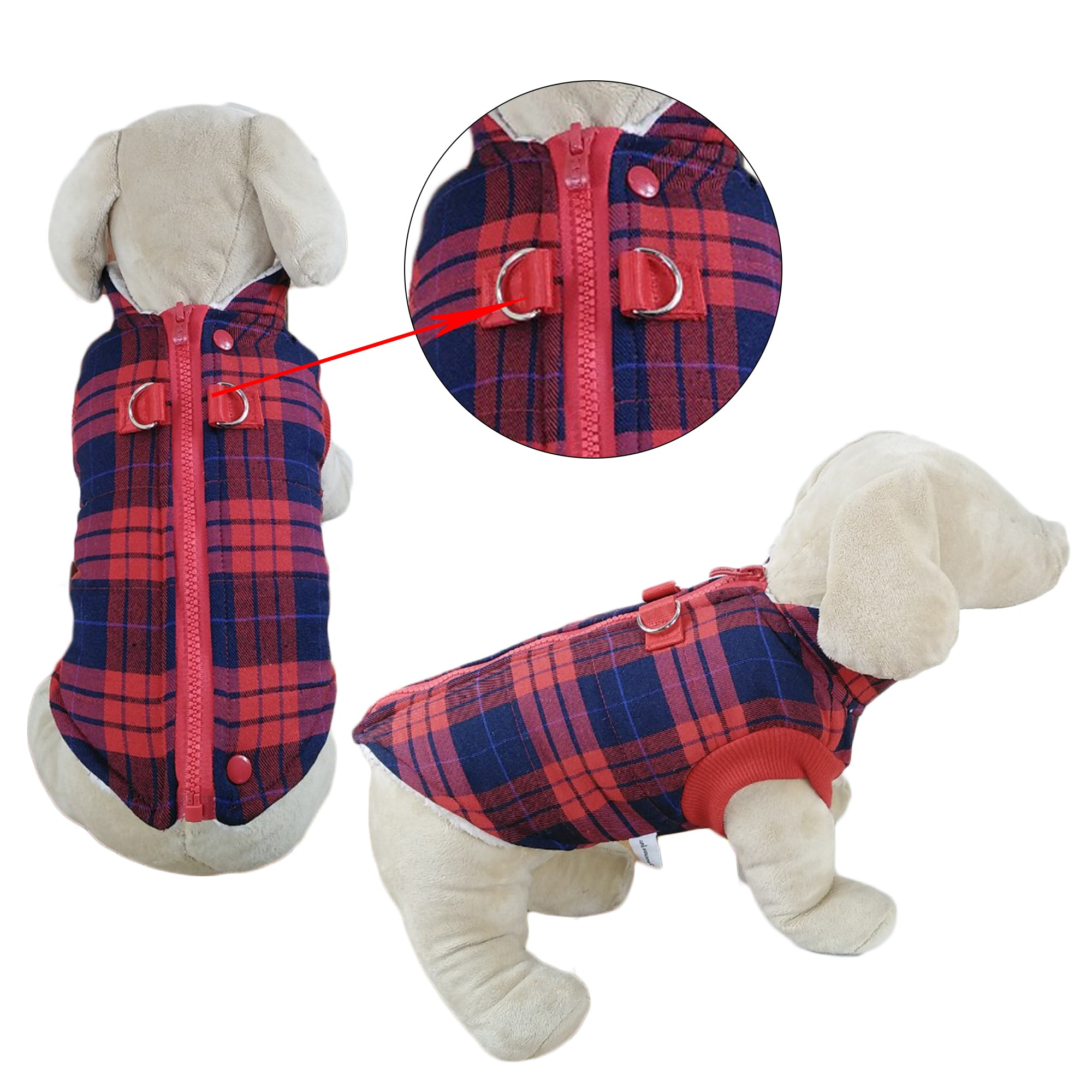Winter Coat with Thick Fleece Zipper Closure and Leash Ring - Primeware Inc.