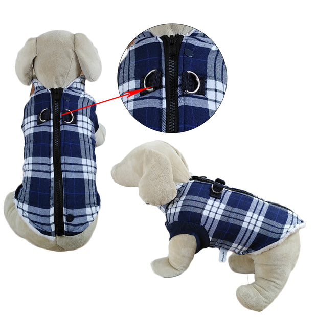 Winter Coat with Thick Fleece Zipper Closure and Leash Ring 1