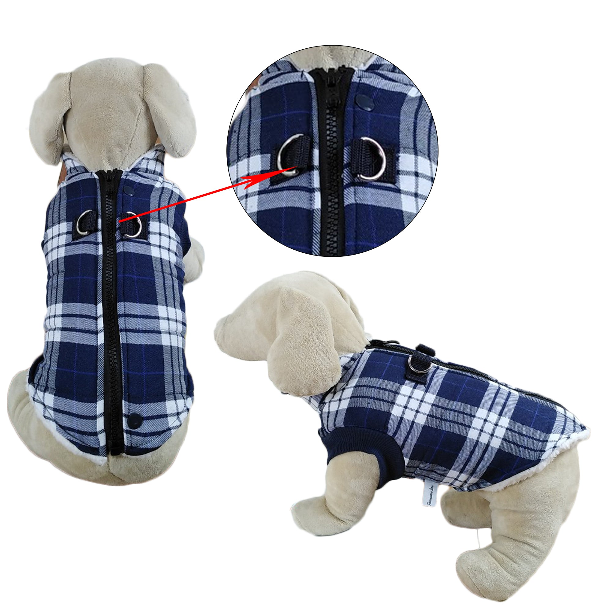 Winter Coat with Thick Fleece Zipper Closure and Leash Ring - primewareinc