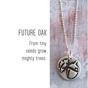 ACORN Sterling Silver, Charm Necklace with Sentiment Card