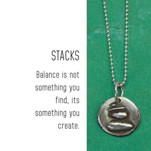 BALANCE Sterling Silver, Charm Necklace with Sentiment Card