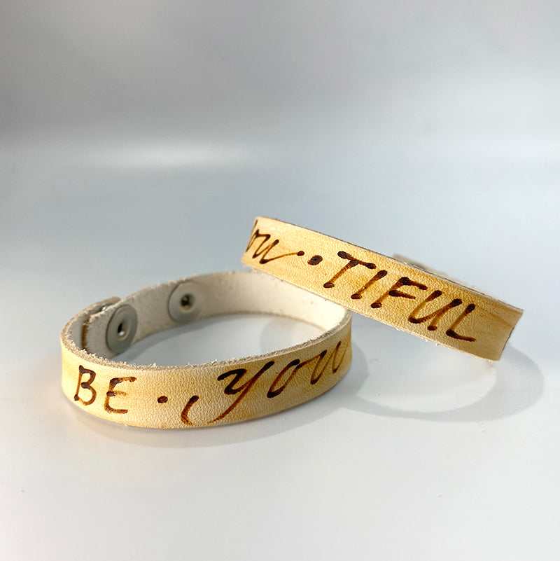 BE-YOU-TIFUL -  Leather Sentiment Bracelet