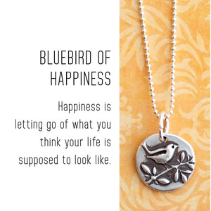 BLUEBIRD OF HAPPINESS Sterling Silver, Charm Necklace with Sentiment Card