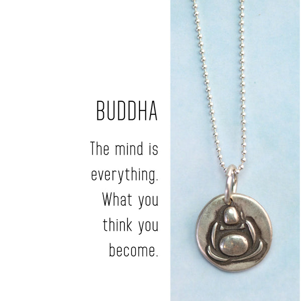 BUDDHA Sterling Silver, Charm Necklace with Sentiment Card