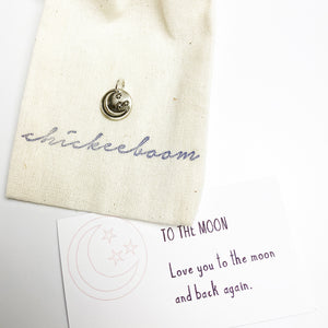 BEE Sterling Silver, Charm Necklace with Sentiment Card