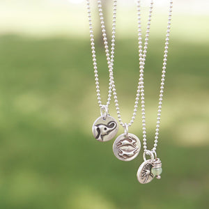 TURTLE Sterling Silver, Charm Necklace with Sentiment Card