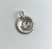 Load image into Gallery viewer, Each sterling silver, wax seal charm is handcrafted and stamped with our makers mark as well as a .925 purity stamp to signify sterling silver.