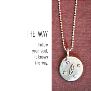 COMPASS Sterling Silver, Charm Necklace with Sentiment Card