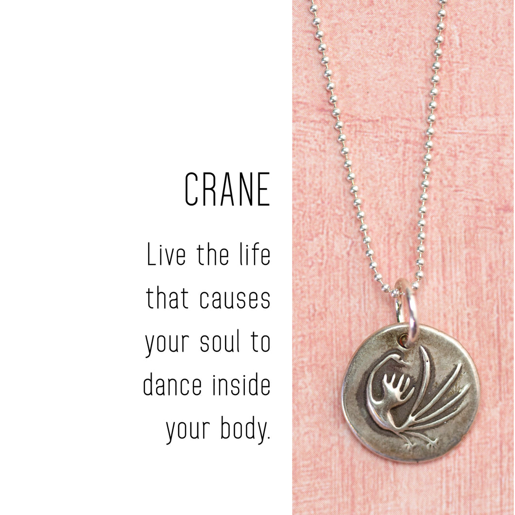 CRANE Sterling Silver, Charm Necklace with Sentiment Card