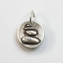 Load image into Gallery viewer, Sterling silver chameleon charm that is about the size of a dime and has a wax seal look and feel. Charm comes with a sterling jump ring that is large enough to slide over any existing chain in your collection.  Original designs by artist, Rebecca Ramos.