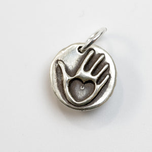 MOTHERS DAY: FOREVER Sterling SIlver Heart in Hand Charm