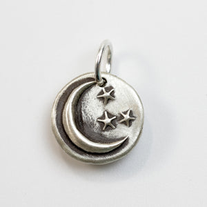 LOVE YOU TO THE MOON Sterling Silver Moon Charm
