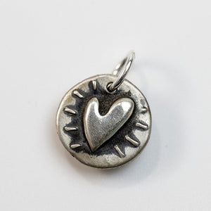 SEEK AND FIND Sterling SIlver Heart Charm