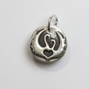 ALWAYS WITH YOU Sterling Silver Two Swans Charm