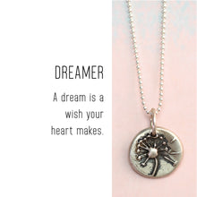 Load image into Gallery viewer, DANDELION Sterling Silver, Charm Necklace with Sentiment Card
