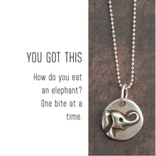 Load image into Gallery viewer, ELEPHANT Sterling Silver, Charm Necklace with Sentiment Card